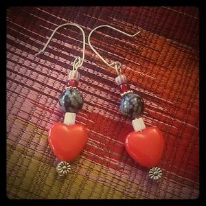 Snowflake Obsidian and Red Heart Earrings